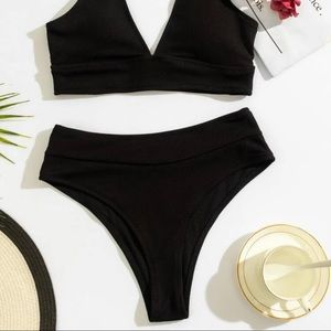 SHEIN High Cut Black Bikini Bottoms Triangle Sz M